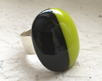 Fused Glass Ring, Women's Adjustable Ring