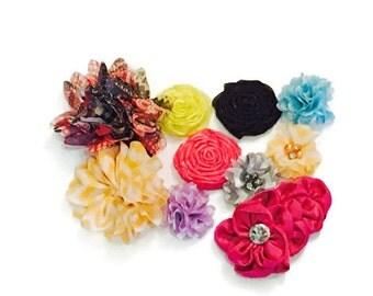 "Grab Bag of 10 Flowers - Assorted Grab Bag Flowers -Wholesale Flowers - 2 - 4"" in size - Wholesale Headband Supplies"