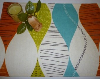 4 Orange Blue Napkins Funky Retro Green Fabric Cotton Cloth washable ANY of MY DESIGNS