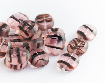 Flat Oval Large Beads, Czech Glass Window Beads, Transparent Frosted Edge, Table Cut Rosaline Tortoise, 12/14mm x 10pc (0017)