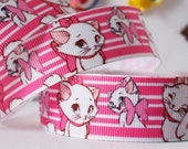 CLEARANCE SALE *FREE Shipping * 3 yards x  25mm Grosgrain Ribbon Disney My Marie Cat White Sewing Scrapbooking Hair Ribbon Bows