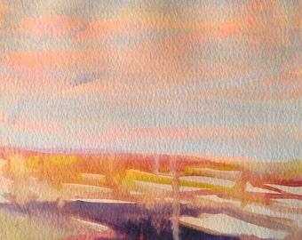 Landscape Series 5, Original Acrylic on Paper Painting
