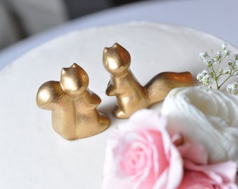 Metallic Squirrels Wedding Cake Topper, Ceramic Squirrels in Gold, Silver or Copper, Wedding Gift, Anniversary Gift, Gifts Under 20