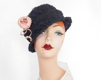 1930s tilt slouch hat, vintage navy blue with pink grosgrain rose