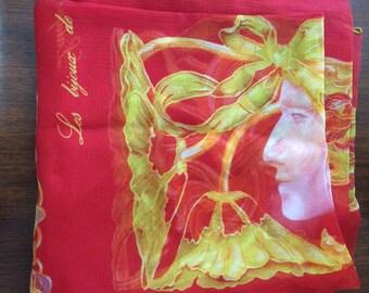 Vintage Lalique Paris Silk Scarf // Les bÿoua de René Lalique // Red and Yellow Art Nouveau Silk Scarf
