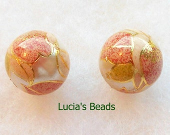 A Beautiful Pair of Japanese Tensha Beads in Pink Blossom on Pearl 12 MM