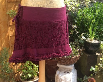 Crochet Lace Psy Pixie High-Low Skirt, Plum Purple, Pixie Skirt
