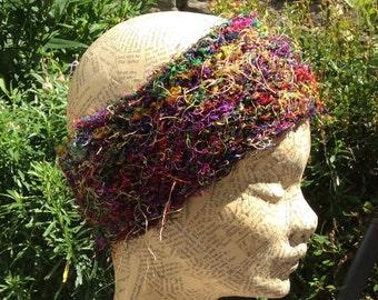 Recycled Sari Silk Knitted Dread Wrap, Head Band, Head Wrap