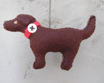 Chocolate Lab Retriever Miniature Felt Ornament - Cocoa