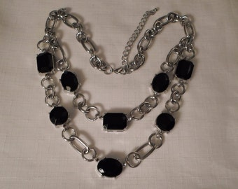 BLACK BIB NECKLACE / Choker / Collar / Lucite / Rhinestones / Silver / Retro / Modernist / Fashionista / Hip / Trendy / Chic / Mod Accessory