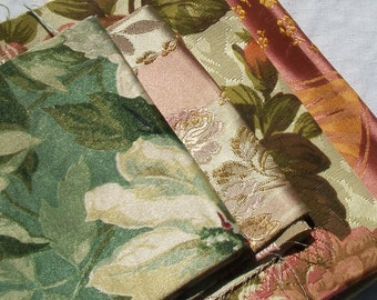 Antique French fabric pieces Sumptuous Roses and Peonies Satin Regency Cotton