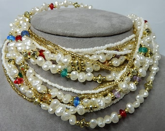 Colorful Multi Strand Pearl & Seed Bead Necklace