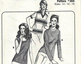 1970's Kwik Sew Knit Top 304 Women's multi-size 14 16 18 T-Shirt, Tank Top