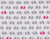 SALE  Gray Pink Elephant     Modern Apparel Quilting    Cotton fabric. Only Half Yard.