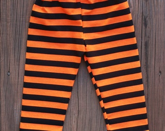 SALE  Orange  Black Striped  Knit Leggings Orange   Leggings Baby  Girls Leggings  Halloween  Knit Leggings