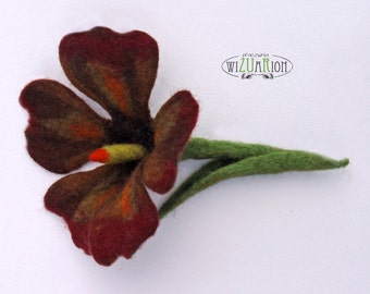 Brown flower brooch hand felted corsage felt flower