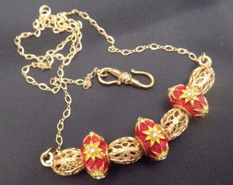 Red and Gold Pandora Style Beads with Gold Filigree Spacers Necklace, OOAK, Handmade in USA, Free US Shipping