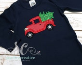 Christmas Outfit Baby Boy Navy Romper Christmas Tree Truck