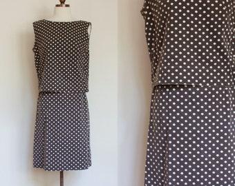 vintage 1960s polka dot skirt and top set / 60s Junior House