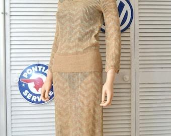 Vintage 70's Womens Dress/2 Piece Lillie Rubin/Sheer Crochet-Knit/Tan/Gold Metallic Thread/Blouse Skirt/Scallop Sleeves & Hem/Small Medium