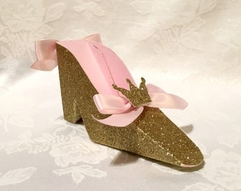 Light Pink and Gold Glitter Crown High Heel Shoe Favor Box, Gift Box