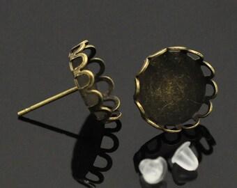 10 or 30 or 50 pcs. Antique Bronze Earring Posts Settings Bezels Cabochons Tacks- 12mm Glue Pad Setting