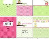 Binder Covers with little owls in pink and green- Add your own text to customize them- Printable Files- Instant Download