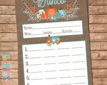 Bunco Score Card- Fall Theme- Table Signs- Burlap and Pumpkins- Rustic Charm- Printable Score Sheet