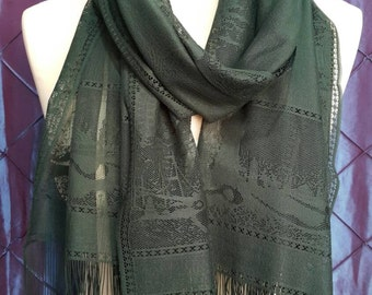 ON SALE - Green Tulle Scarf - Shawl Women Scarf- Cowl Scarf with Lace Edge - pinti