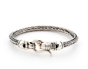 chain braided silver bracelets/ braided silver Bracelet/ Silver braided Bracelet/ silver jewelry bracelet/men's silver bracelet/ father gift