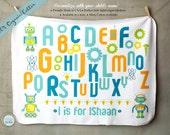 Alphabets Baby Blanket, 100% ORGANIC Cotton, Robots Blanket, Swaddling blanket, Customized Blanket, Newborn Gift, ABC print