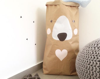 Toys paper bag storage  - Bear Paper Bag storage of toys -  Storage Bag for kids rooms or nursery decor