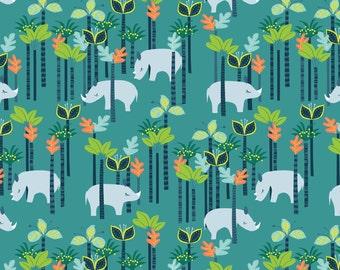 Sundaland Jungle - Rhinos in Blue by Katy Tanis for Blend Fabrics