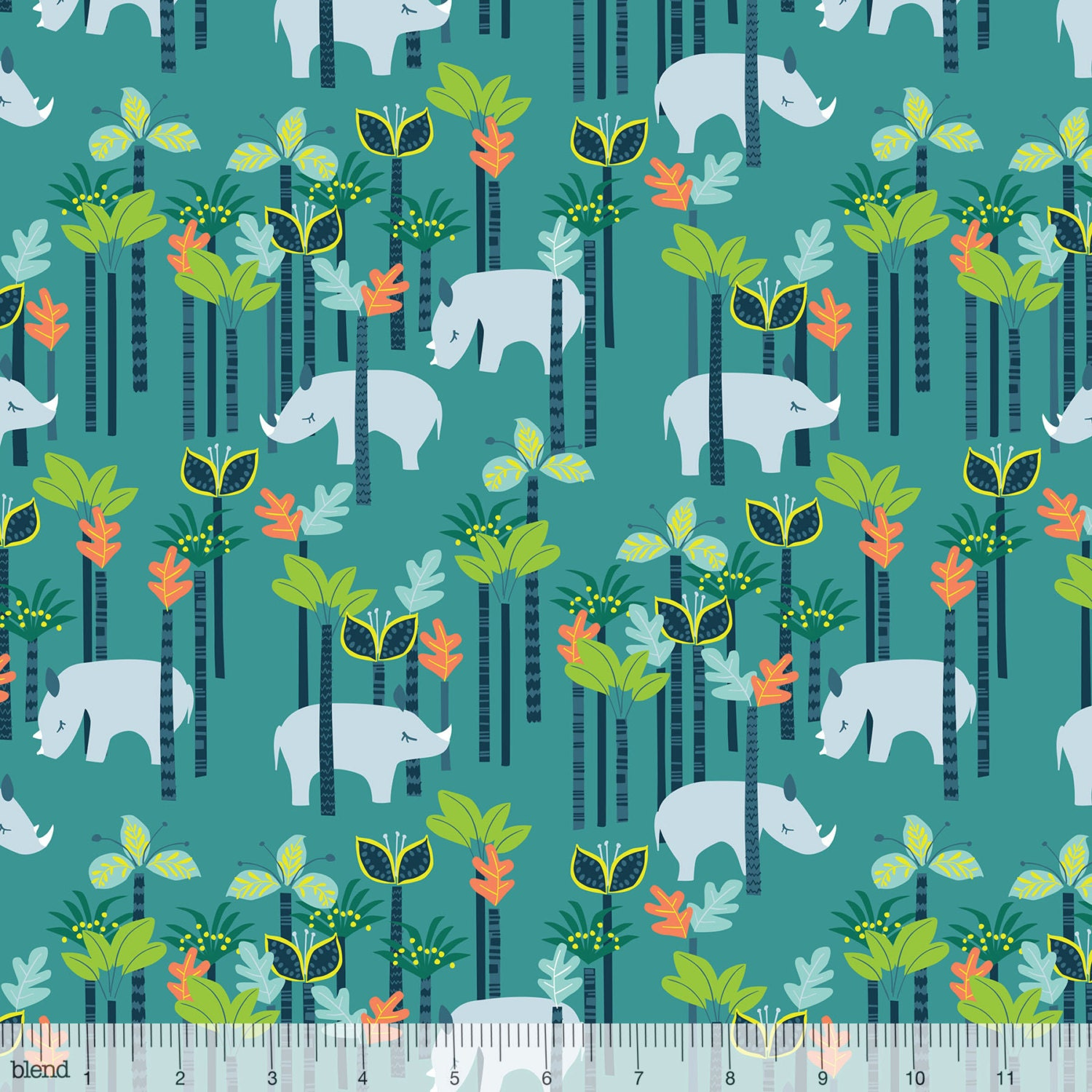 Sundaland jungle rhinos in blue by katy tanis for blend for Kids jungle fabric
