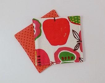 Mod Apple Fabric Coaster Pair Mug Mats Set of Fabric Drink Coasters