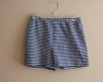 70's Vintage Blue & White Nautical Striped Shorts - Size Medium - Beach - Summer
