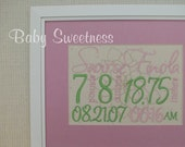 Birth Announcement Canvas Wall Hanging 8 X 10