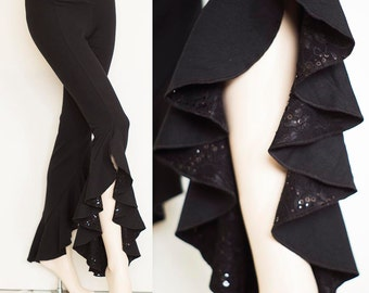 Bamboo Belly Dance Ruffle Pants Black with Sequin Lace Detail