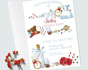 Alice in Wonderland Invitation - EDITABLE INSTANT DOWNLOAD - Alice in Wonderland Birthday Party - Custom Party Invitation