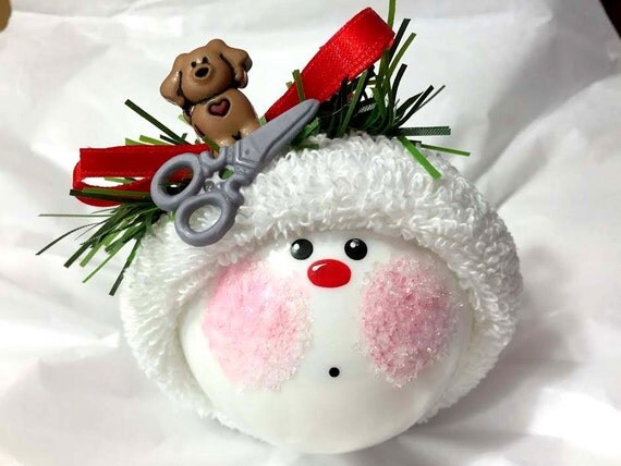 Snowman Dog Groomer Christmas Ornament