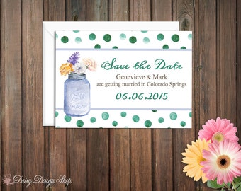 Save the Date Card - Watercolor Style Flowers, Jar, and Polka Dots - Customizable Colors