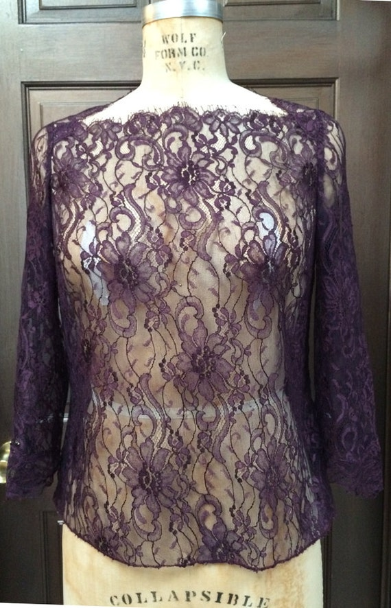 Chantilly Lace Blouse with Sleeves