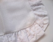 Pillow Sham 14 count aida stitchable. Ruffle lace edge, 12 by 12 inch. pillow cover. stitchable.