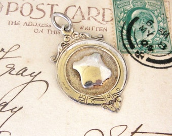 Vintage English sterling silver shield watch fob medal 1947