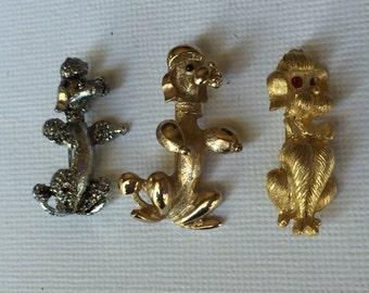 Three Vintage Poodle Pins