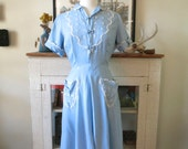 XS, S 50s dress, robins egg blue linen with intricate embroidery