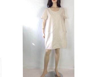 90s Denim Dress Simple Jean Dress Vintage Denim Smock Dress Minimalist Denim Dress Pocket Scoop Neck Tent Jean Mini Dress 42 L large