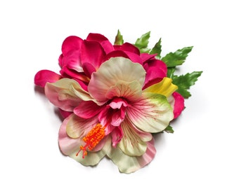 Ivory & Pink Hibiscus Tropical Hair Flower Clip with Pink Plumerias and Green Leaves