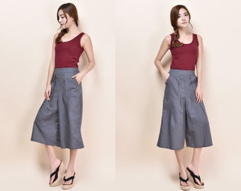 Elastic Waist Linen Pants with Wide Legs /Culottes with Pleats / 23 Colors/ Any Size/ RAMIES