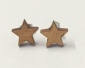 Star Laser Cut Earrings - wood, timber, brown